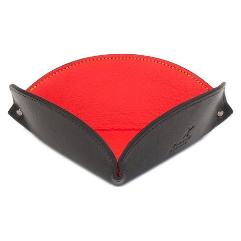 vide-poche en cuir noir et rouge