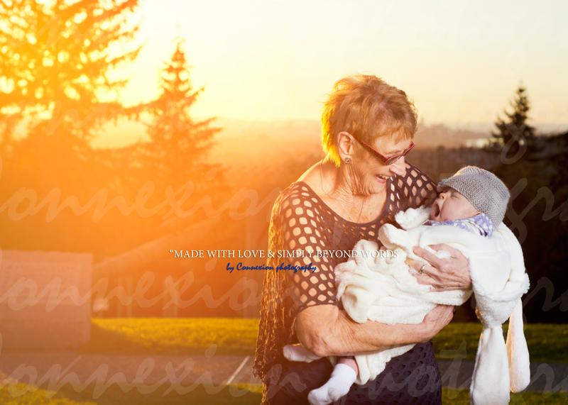grande mère bébé bras couché soleil