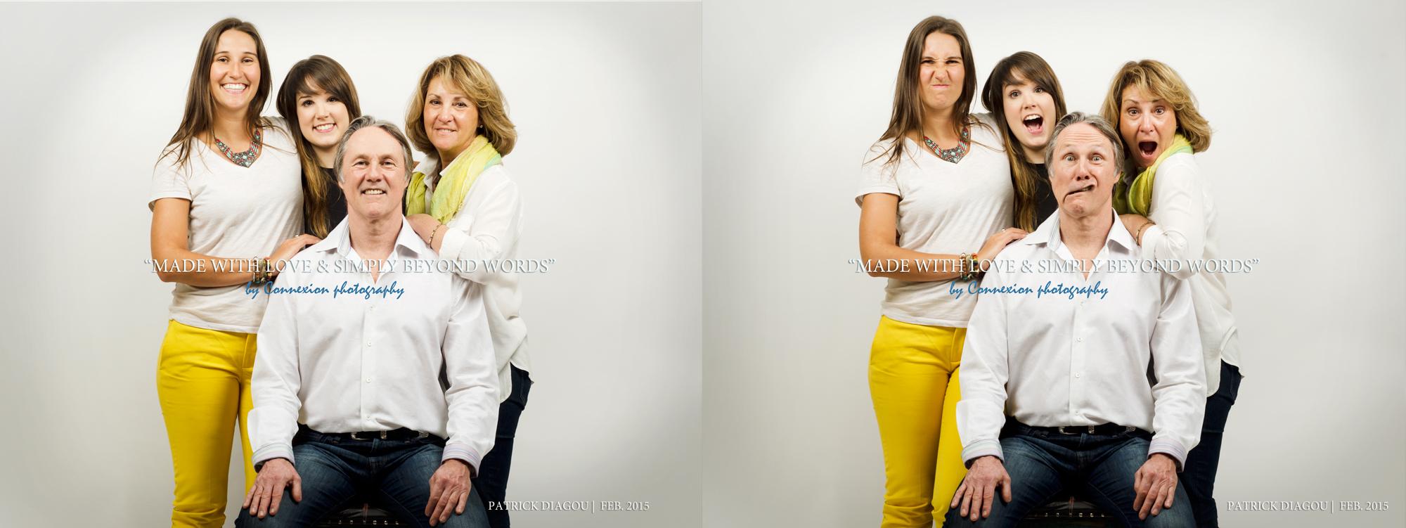 Famille au studio photo fond blanc