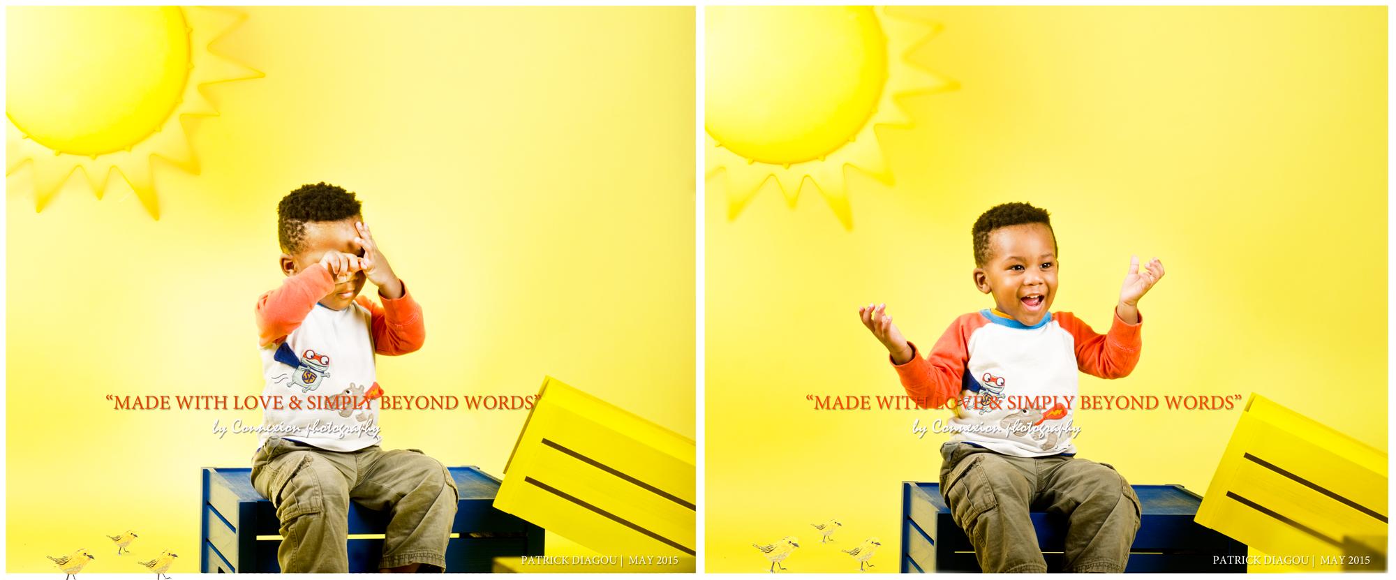 enfant noir assis caisse déco soleil