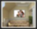 Black family photo display on living room wall