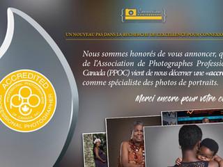 Nous sommes maintenant accrédités par l'Association des Photographes Professionnels du Canada.