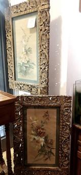 acquarelli primo XX raffiguranti fiori, cornici intagliate mis 50 x 70 €370