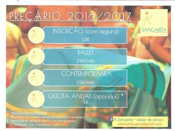 Preçário 2016/2017 - A dançarita