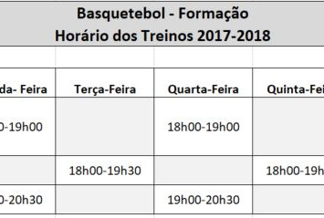 Basquetebol - Horários Treinos 2017/2018
