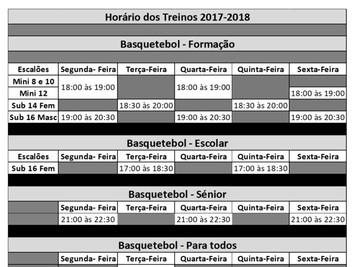 Horários Treinos Basquetebol - Actualização do mapa