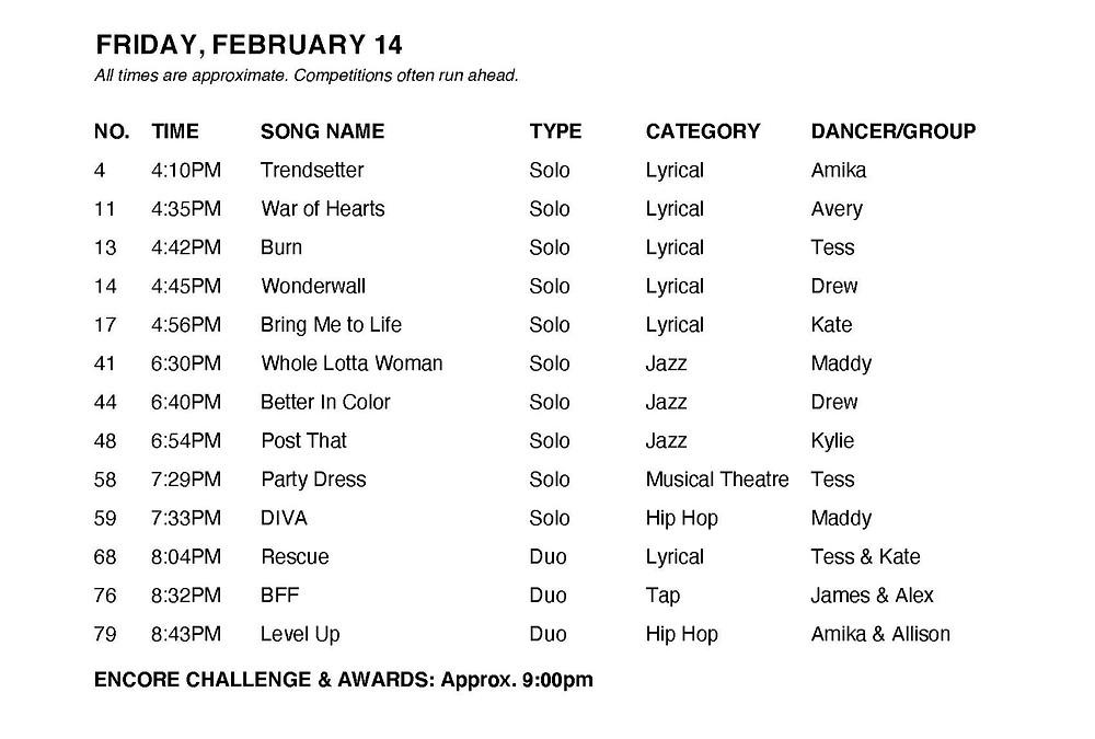 Friday Schedule - Triple S