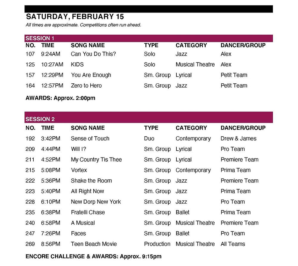 SAturday triple S Schedule