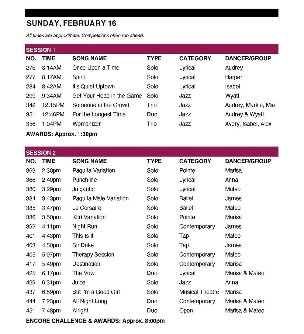 Sunday Triple S Schedule