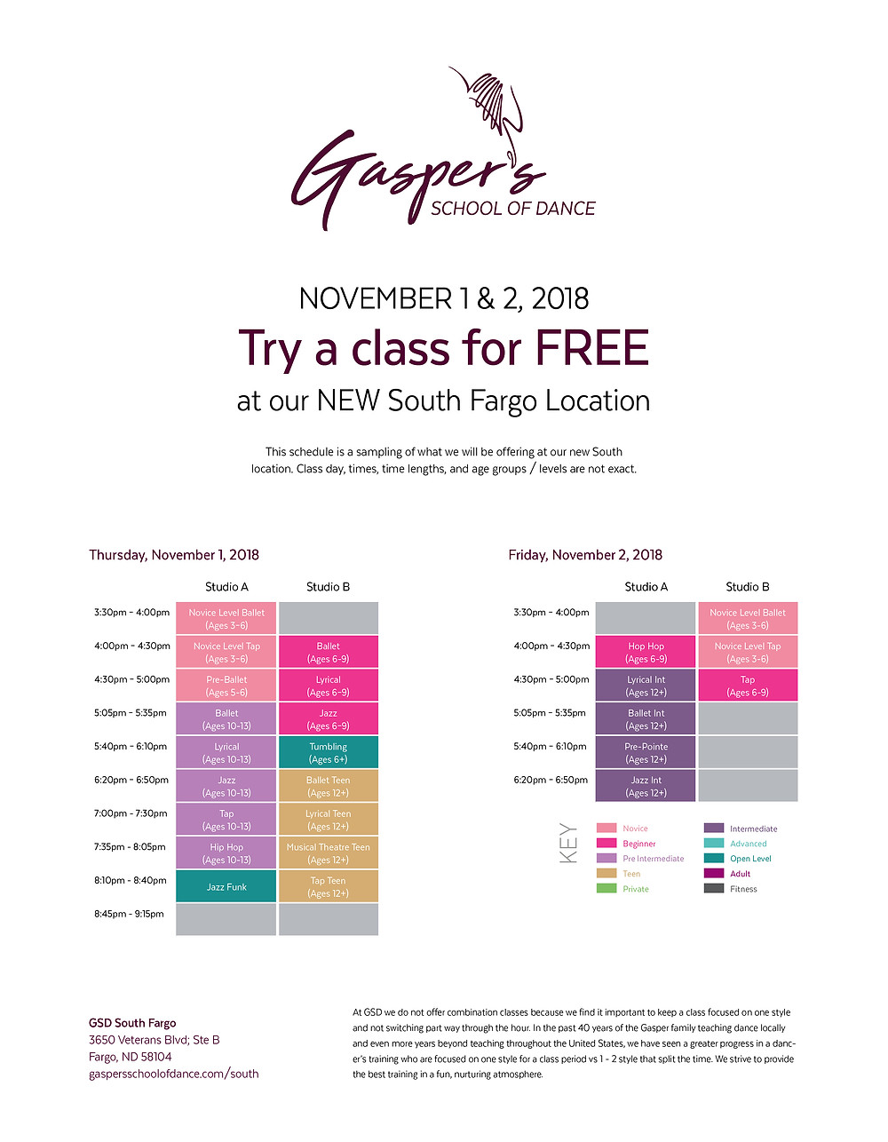 South Location Trial Class Schedule