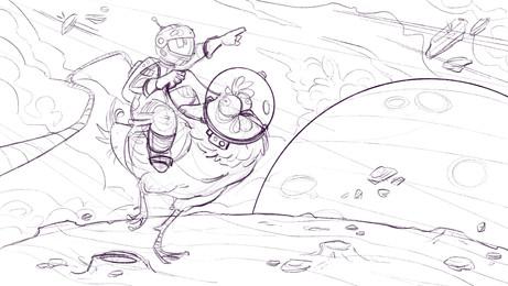 """Astronaut riding Chicken"""