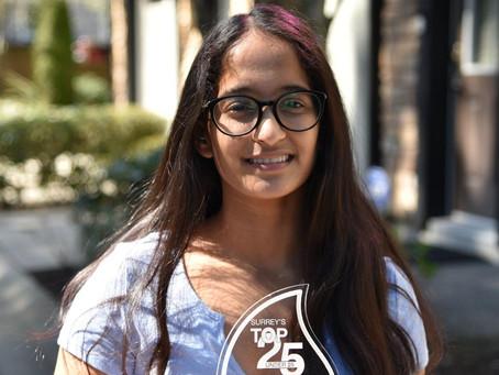 Surrey Knights Swim Club - Tavisha recognized as one of Surrey's Top 25 Under 25