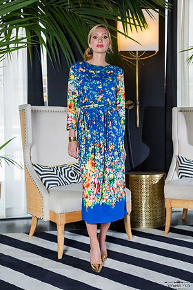 שמלת פרחים 4\3 כחול פרחוני
