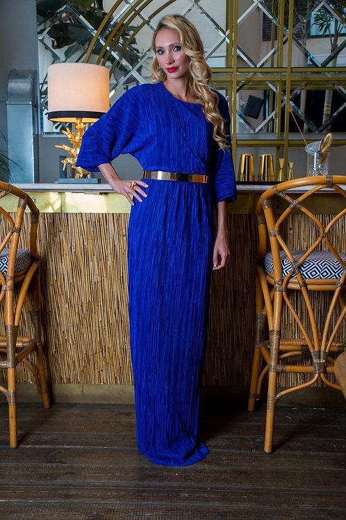 שמלת פליסה כחול רויאל ארוכה