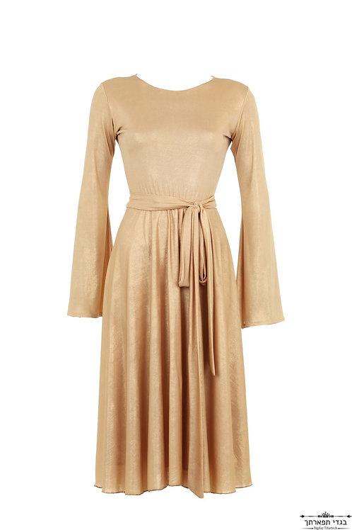 שמלת ביז'ו זהב קצרה