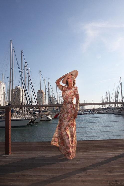 שמלה פרחונית אפרסק ארוכה