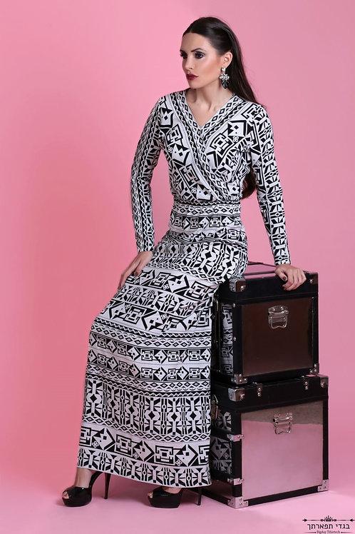 שמלה שחור לבן ארוכה איסמטרי