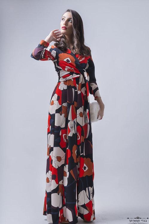 שמלת פרחים ארוכה אדומה