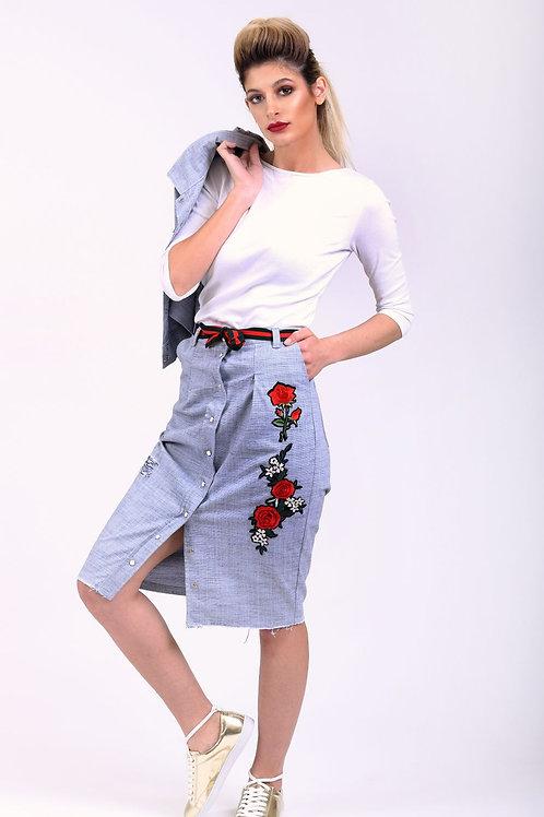 חליפת גינס עם פרחים