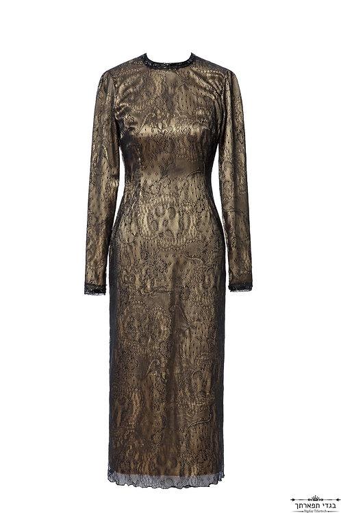 שמלת תחרה ורסצ'ה  שחורה