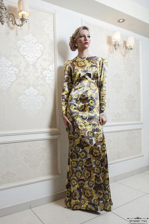 שמלת פרחים צהובה צמודה ארוכה\קצרה