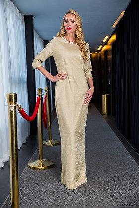 שמלת זהב תחרה עם צווארון קריסטלים