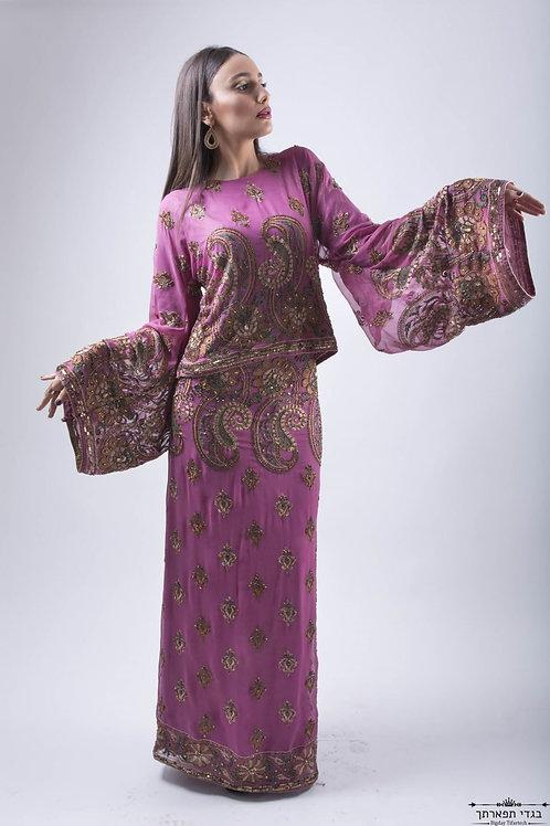 שמלת קימונו אבנים שרוול מתרחב