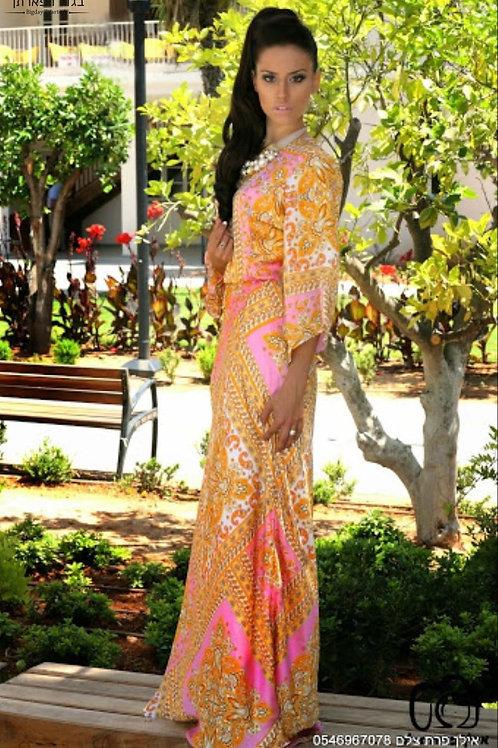 שמלת מעוינים ורודה ארוכה ממשי שיפון
