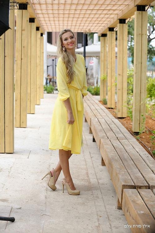 שמלת קלוש צהובה קצרה