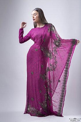 שמלת קימונו מבד אבנים בצבע חציל-השכרה:750 , קנייה :1500
