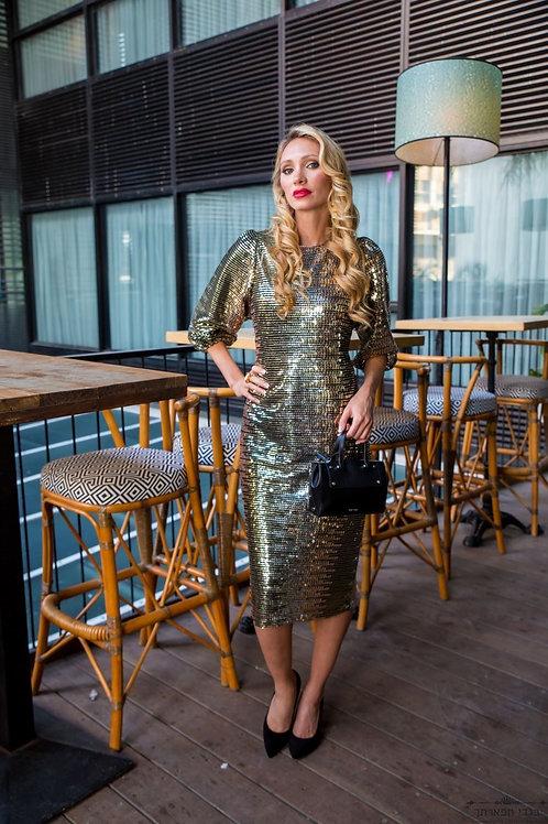שמלת פאייטים זהב קצרה עם שרוול מנופח