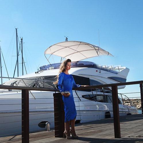 שמלת סאטן כחול רויאל