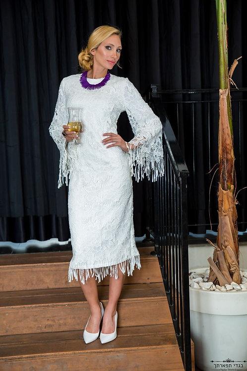 שמלת חנל'ה לבנה קצרה