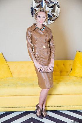 שמלת עור חמרה צמודה תיק תק