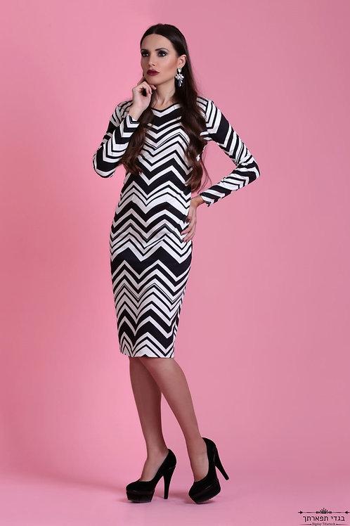 שמלה זברה שחור לבן