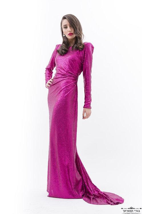שמלת פאייטים ורוד פוקסיה ארוכה