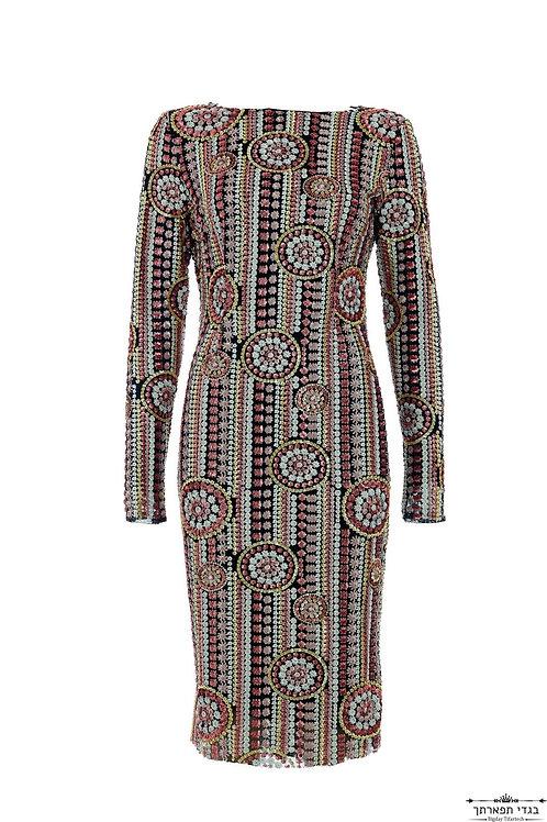 שמלת פאייטים פרחונית