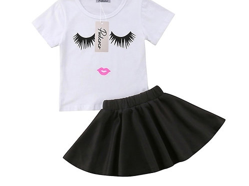 Toddler Girl Summer Clothing Set Eyelash T-shirt Tops+Black Skirts Dress