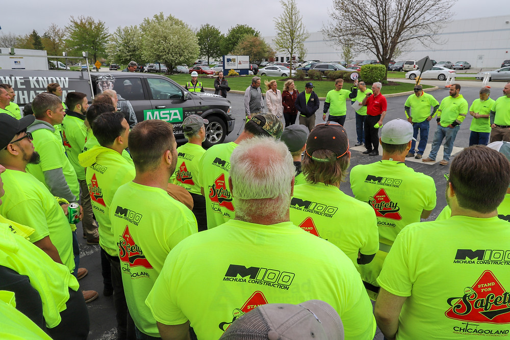 Michuda Construction field teams are addressed by Chicagoland AGC President after a day of safety training, demonstrations, and tool trade show at Michuda's HQ.