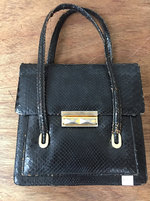 Vintage tas zwart afm: 25 x 25 x 8 cm l x b x d