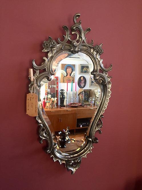 Tinnen spiegel met facet rand afm: 53 x30 cm