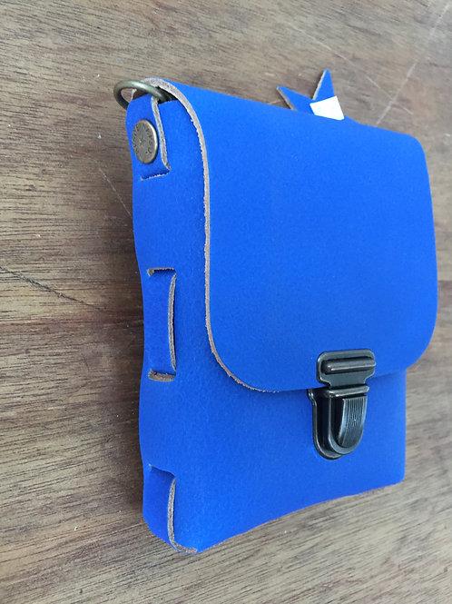 Leren festival tasje 16 x 12 cm h x b kobalt blauw