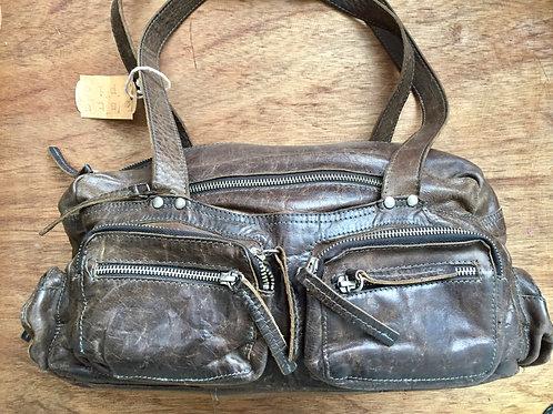 Vintage leren tas met veel vakken afm: 45 x 25 cm donkerbruin