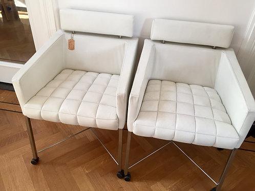 Kalfsleren stoelen vintage 2 stuks