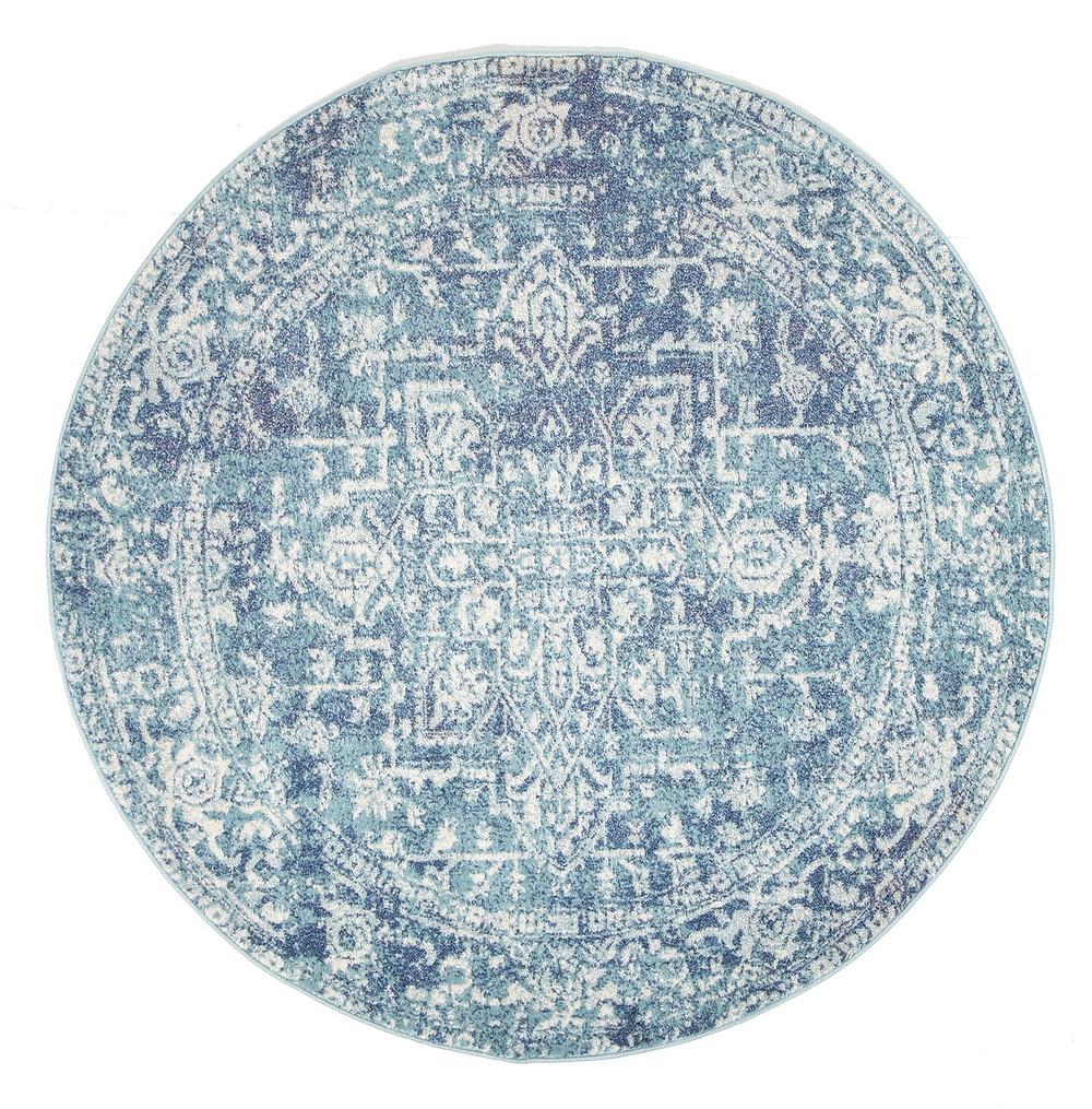Blue Round Art Moderne Cezanne Rug