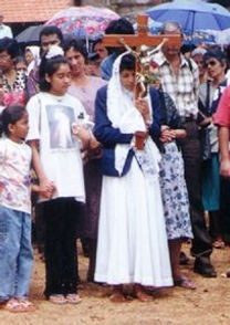 Iveta Fernandes at Mt. Batim in the early years of the Apparition of the Blessed Virgin Mary