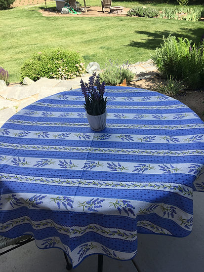 "Blue Grasse Striped 60"" Round Coated Cotton Tablecloth"