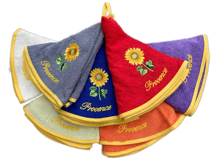 Terrycloth Round Hand Towels: Provence Sunflowers