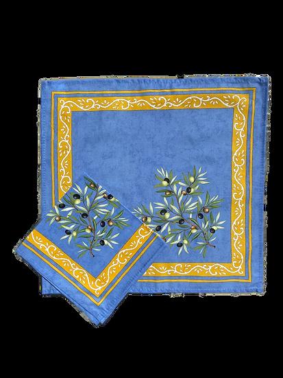 Olive Blue Cotton Napkins