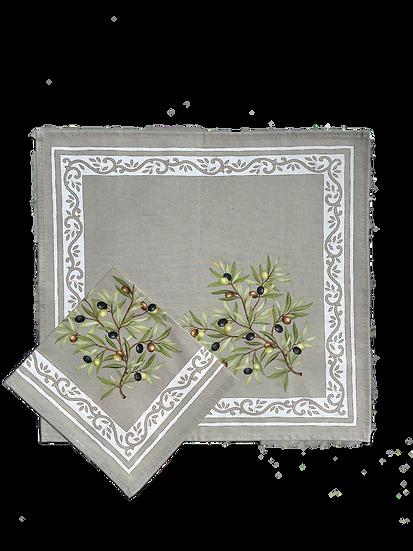 Olive Grey Cotton Napkins